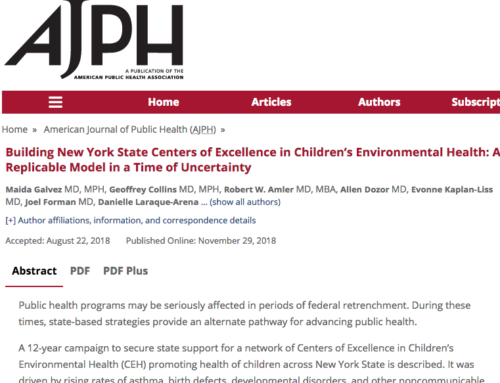 Building New York State Centers of Excellence in Children's Environmental Health: A Replicable Model in a Time of Uncertainty